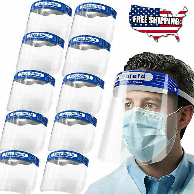 10 Pcs Safety Full Face Shield Protection Guard mask Cover Anti-fog Washable