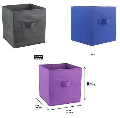 4X 8x Foldable Storage Box Handles Basket Organizer Clothes BOOKS PURPLE Cube UK