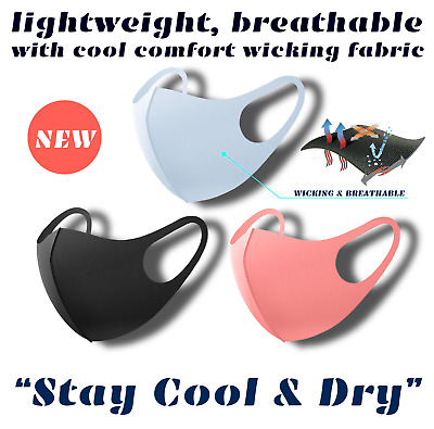 """Cool & Dry"" 3D Fashion Unisex Face Mask Washable Reusable Breathable Lt. Wt."