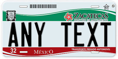 Zacatecas Mexico Any Name Number Novelty Auto Car License Plate C01