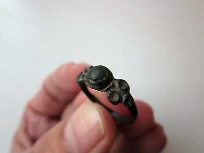 ancient late Byzantine/Medieval bronze ring,decorated with stone/glass. X-XIV AD