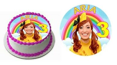 EMMA WIGGLE CAKE TOPPER PERSONALISED NAME AGE GLOSSY CARDSTOCK DECORATION