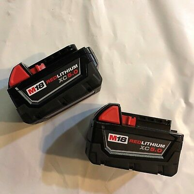 Genuine Milwaukee 2 pack M18 XC 5 amp 18V Red Lithium Battery 48-11-1850 NEW