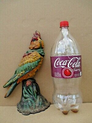 "COCKATOO bird DOORSTOP cast iron 7 lbs HUGE  12-1/4"" h OLD PAINT antique PARROT"