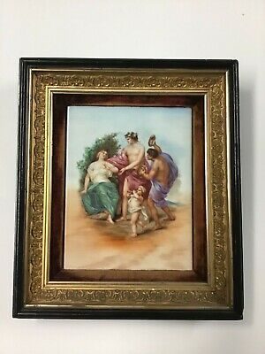 Antique Hand Painted Porcelain Tile In Great Frame