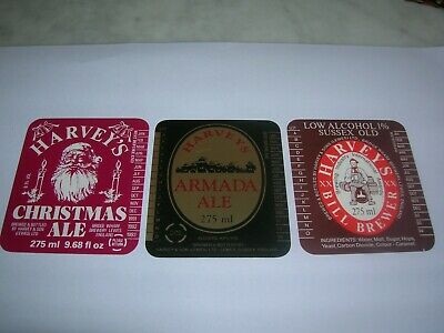 beer labels  HARVEY & Son BRIDGE WHARF Brewery Lewes Sussex  3 (tre) different