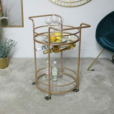 Gold Glass Drinks Trolley glamorous storage bar cart serving dining room kitchen