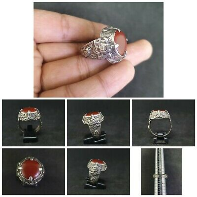 Wonderful Solid Silver Yemani Beautiful Red Agate Stone Handmade Ring #w11