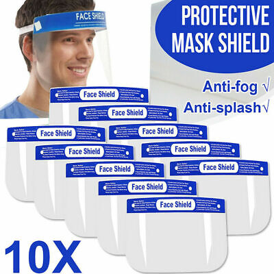 10 Pack Safety Face Shield Anti-Splash Reusable Washable Protection Cover Helmet