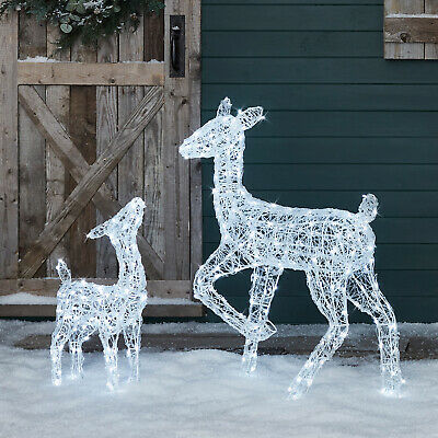 Outdoor Christmas Pre Lit LED Reindeer Doe&Fawn Acrylic Plug In Timer Lights4fun