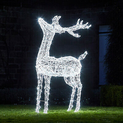 Outdoor Christmas LED Reindeer Acrylic Figure XL 175cm Plug In Timer Lights4fun