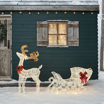Large Reindeer & Sleigh Outdoor LED Christmas Decoration Cotton Spun 100cm IP44