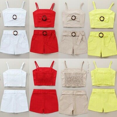 Infant Toddler Kids Baby Girls Fashion Summer Bow Vest Tops+Shorts Outfits Set