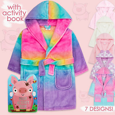 Kids Girls Dressing Gown Hooded Robe Pink with Activity Colouring Book Gift Set