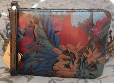 Patricia Nash~CASSINI Floral Italian Leather Wallet Wristlet~BLUE FOREST~NWT $79