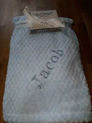 Personalised  Baby Boy Blue Super Soft Feel Waffle Blanket / Wrap