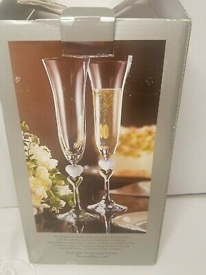 Gorham Amore Lead Crystal Toasting Champagne Flutes Two Hearts Wedding Germany