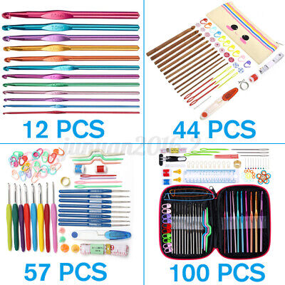 12//44//57//100pcs Aluminium Crochet Hooks Set Kits Knitting Tool Accessories ↬