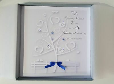 Personalised 10th Anniversary Card Husband Wife 7th 8th 9th 11th 12th 13th Tin