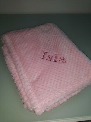 "Personalised  "" Isla "" Baby Girl Pink Super Soft Feel Waffle Blanket / Wrap"