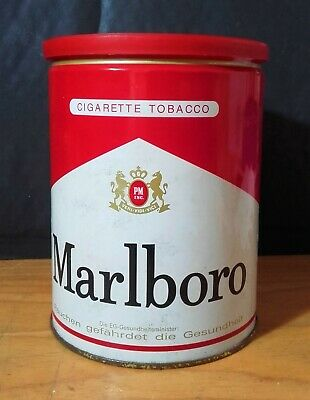 MARLBORO Smoking Tin Tobacco Barattolo Latta Tabacco (PIENO) VINTAGE GERMANY