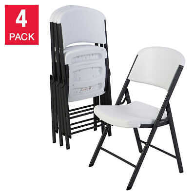 Lifetime Folding Chairs All-Weather Steel Frame Finish Polyethylene White 4-Pack