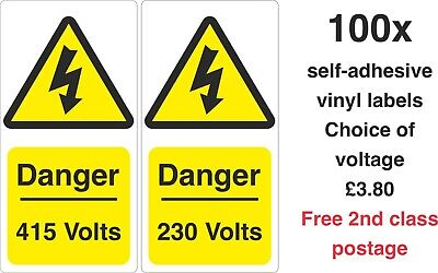 Yellow 50mm x 20mm Electrical Safety Warning Labels 220V Voltage Labels