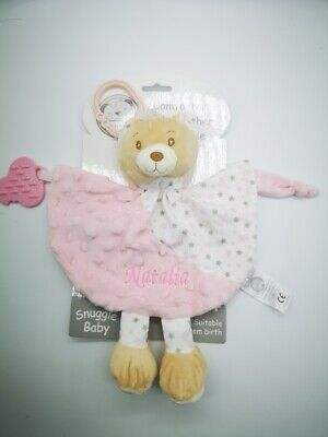 Personalised Baby comforter C/W RATTLE/TEETHER Comforter Gift toy new 2020 0807