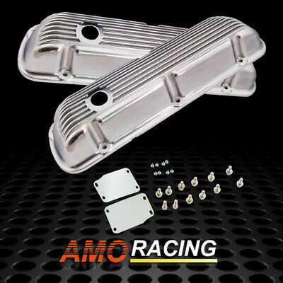 SBF Finned Aluminum Valve Covers 289 302 351W 5.0L Fits SB Ford