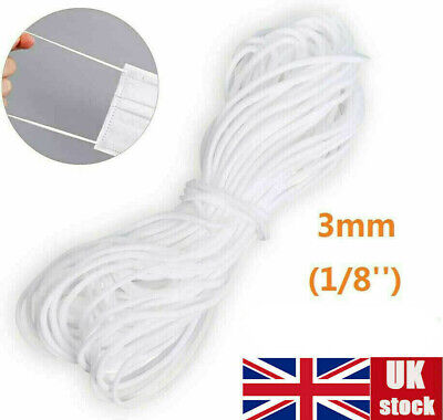3mm 10 50m Elastic Cord Soft White Thread Band Strap Sewing Craft