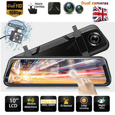 "10"" FHD Dual Lens Car DVR Dash Cam Front and Rear Mirror Camera Video Recorder"