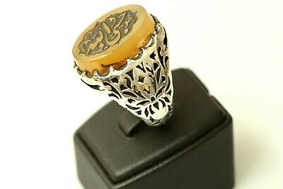 Wonderful Ottoman Silver Ring Featuring Inscribed Carnelian Seal Arabic Persian.
