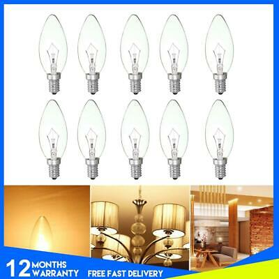 40W Clear Candle Small Edison Screw Light Bulbs Cap SES E14 Base Lamp 10 Pack