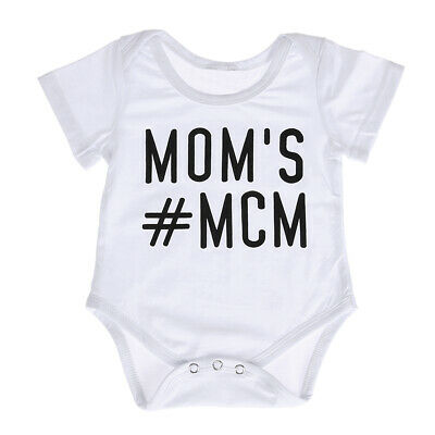 Newborn Baby Boy Girl Casual Romper Jumpsuit White Letter Print Outfits L&6