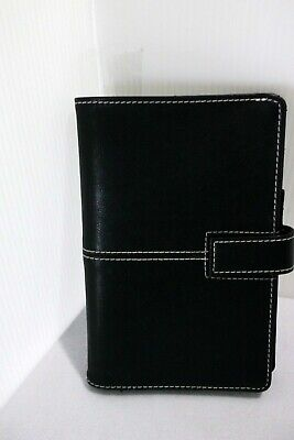 """Blue Sky Snap Black Faux Leather Book Binder Planner 4.5""""x7.25"""""""