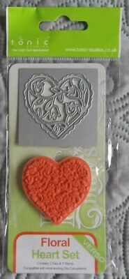 floral heart set tonic studio rococo die /& stamp set 1045e
