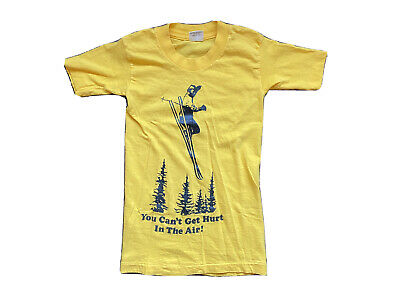 Vintage You Can't Get Hurt in the Air! Skiing T Shirt Youth Medium 10-12 USA 80s