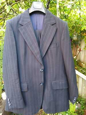 Vintage Wool Suit - Beautiful Blue Pinstripe - Made in South Africa
