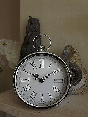 Contemporary Mantel Clock with Handle- Chrome Colour