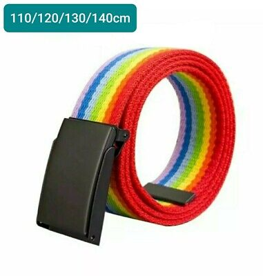 Rainbow Flag Gay Pride Buckle Black Real leather Belt 38mm Hand Made E1 box 2