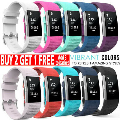 FOR Fitbit CHARGE 2 Replacement Silicone Rubber Band Strap Wristband Bracelet *