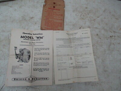 "Briggs & Stratton Operating Instructions Model ""WM"" Washing Machine Motor"