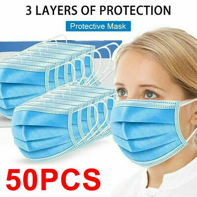 50 PCS 3-PLY Disposable Face Mask Medical Surgical Earloop Mouth Dust Cover