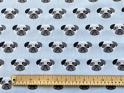 Polycotton Fabric NEW Crafts PUG DOG PET GREY Metre Material Special Offer