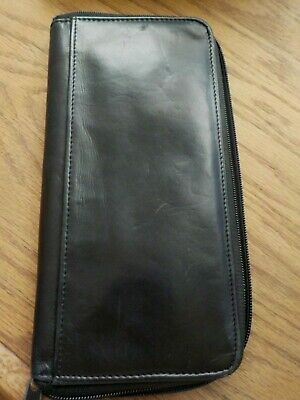 Buxton DOPP Black Leather Travel Passport Wallet Organizer