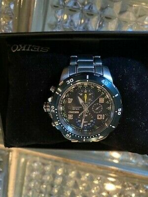 Seiko SSC637 Solar Jimmie Johnson Blue Bezel Black Dial Men's Chronograph Watch