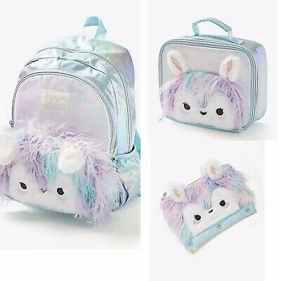 NWT JUSTICE Llama Backpack, Lunch Tote & Pencil Case 2020