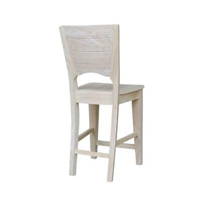 """Canyon Collection Solid Back Counter height Stool - 24"""" Seat Height, Unfinished"""