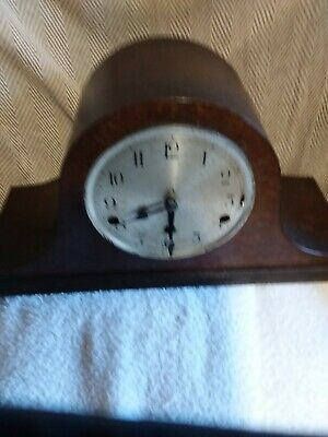 Chiming  Dark Wooden Mantle Clock For Spare Or Repair.