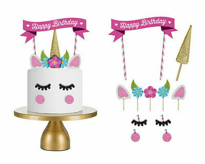 Unicorn Style Happy Birthday Cake Topper Banner Decorating Party Cupcake Flags